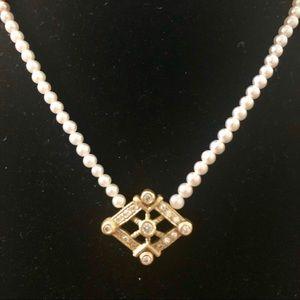 Jewelry - 18K Gold, Diamond, & Pearl Necklace